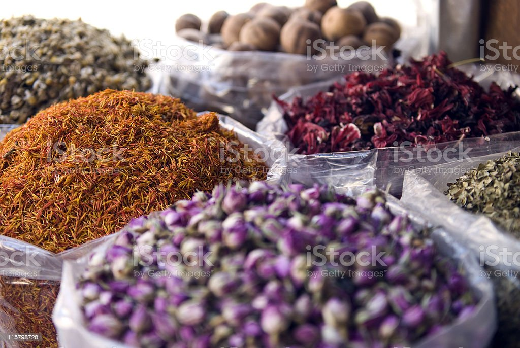 Big clear bags of multicolored spices in two rows  royalty-free stock photo