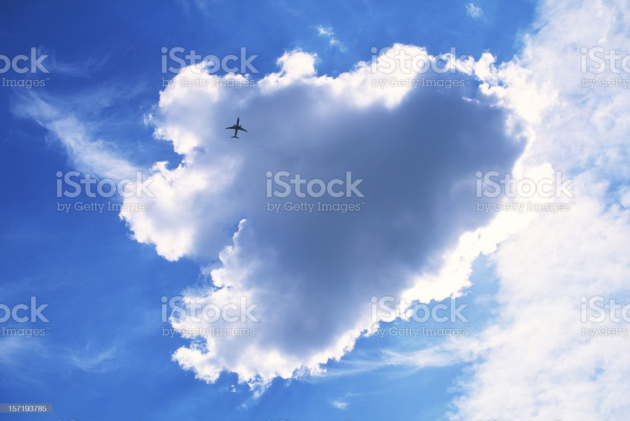Big cloud and jet royalty-free stock photo