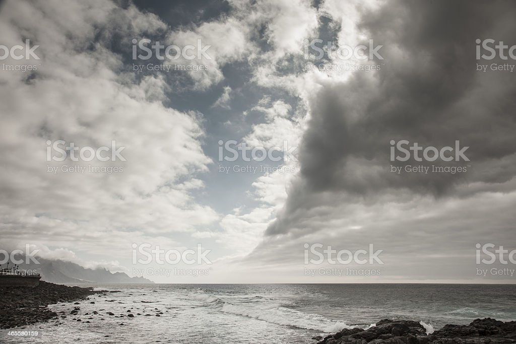 Big Clouds, waves and sea royalty-free stock photo