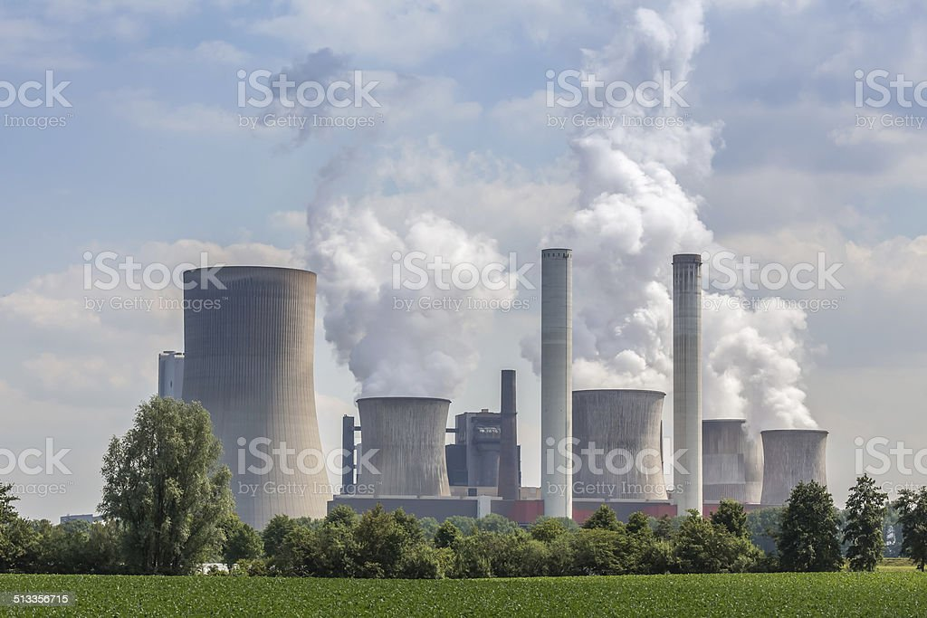 big coal power plant in germany stock photo