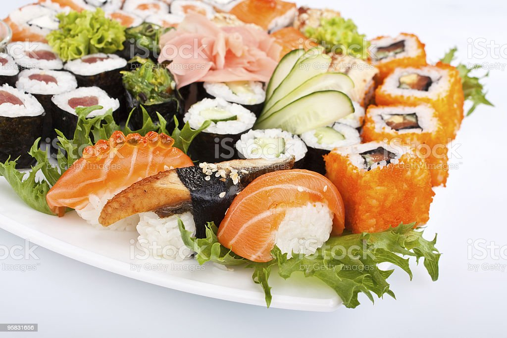 big colorful sushi set on a white plate royalty-free stock photo