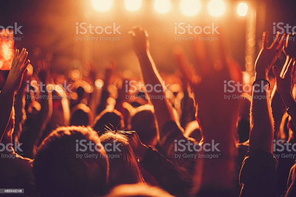 Big concert audience listening to music at festival stock photo