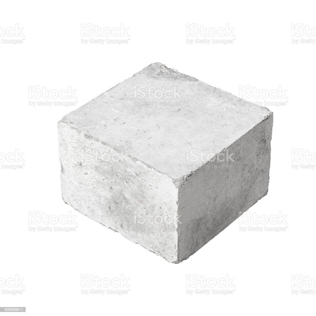 Big concrete construction block isolated on white stock photo
