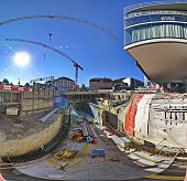 Big construction site in Baden, Switzerland. Reconstructon place, street and