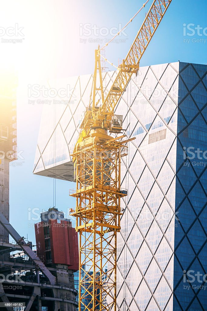 Big construction site with sunlight stock photo