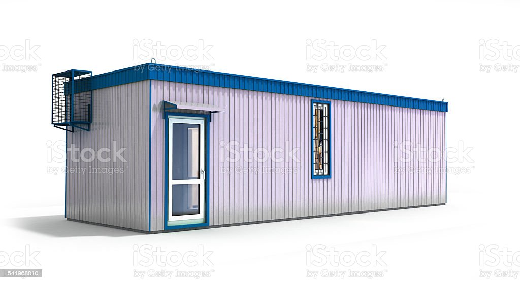 big construction trailer isolated on white 3d render stock photo