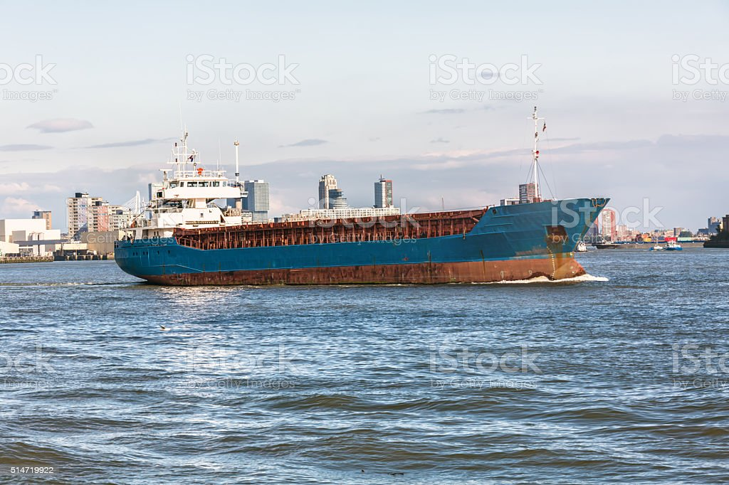 Big Container Ship in Rotterdam stock photo