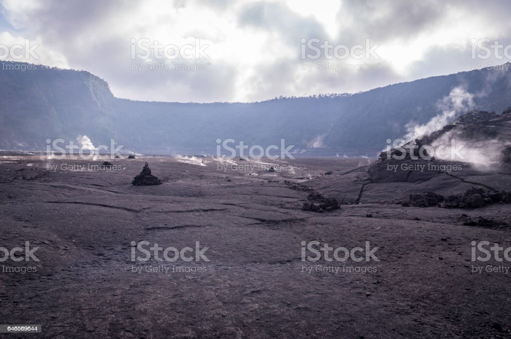 Big crater in Volcanoes national Park, Big Island of Hawaii stock photo