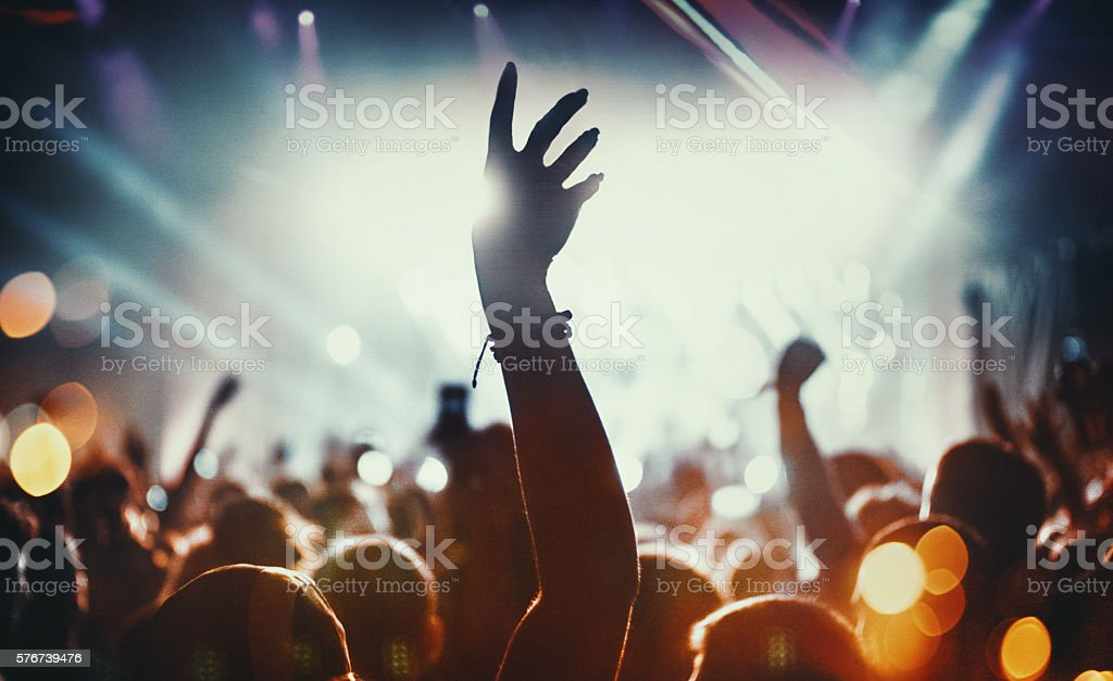Big crowd at a concert. stock photo