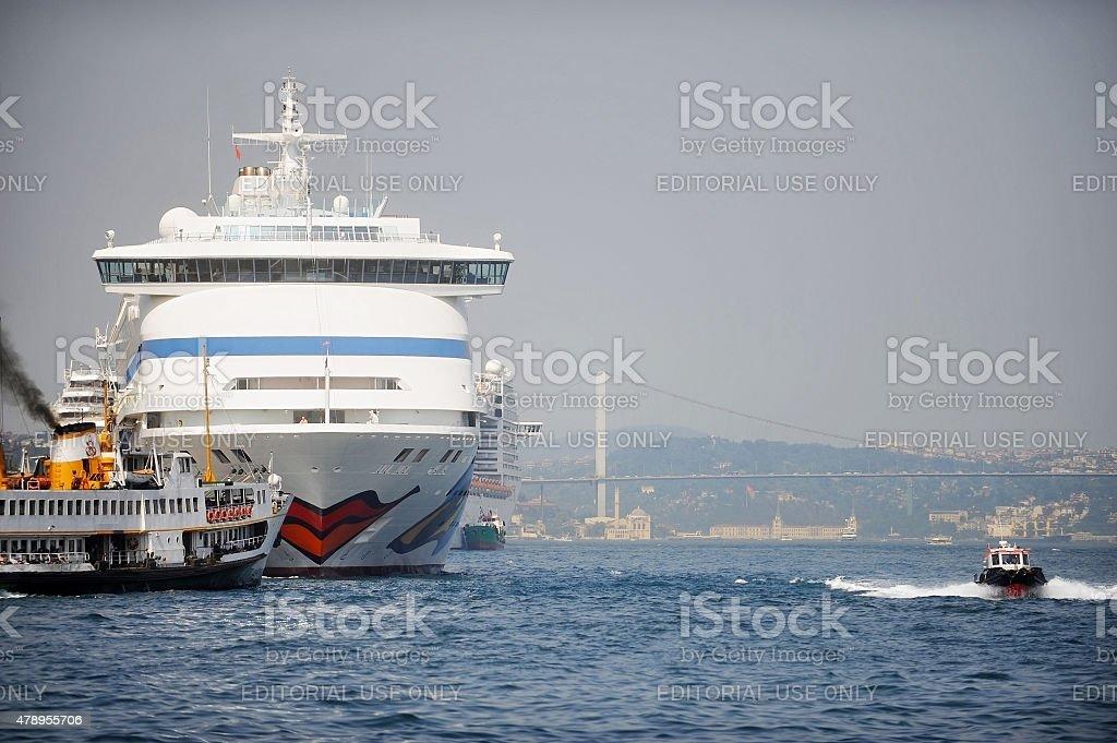 Big cruise ship on Bosphorus strait stock photo