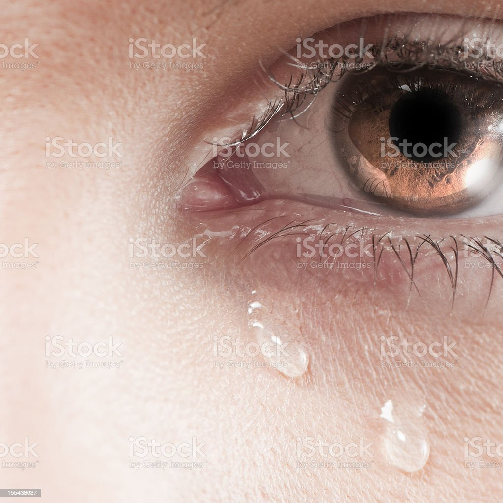 Big crying eye stock photo