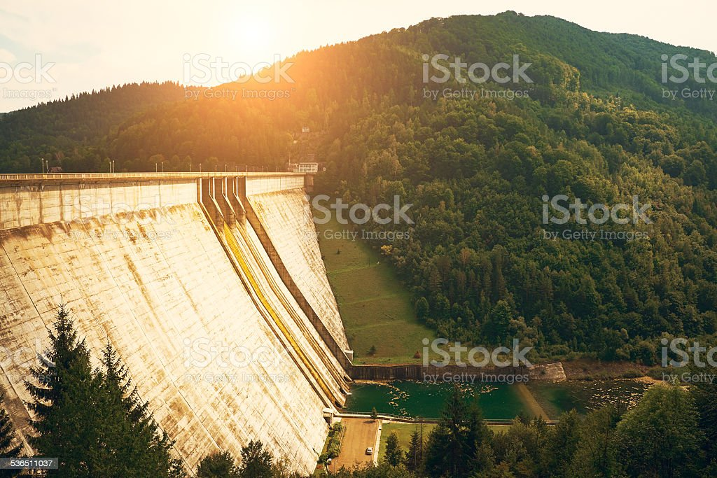 Big dam in beautiful landscape stock photo