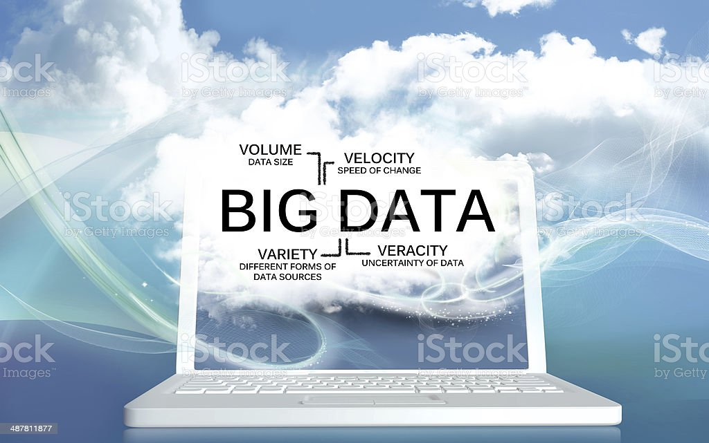 Big Data The V's on a Laptop with Clouds stock photo
