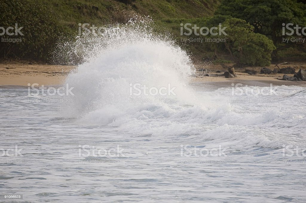 Big distorted wave blast near the beach royalty-free stock photo