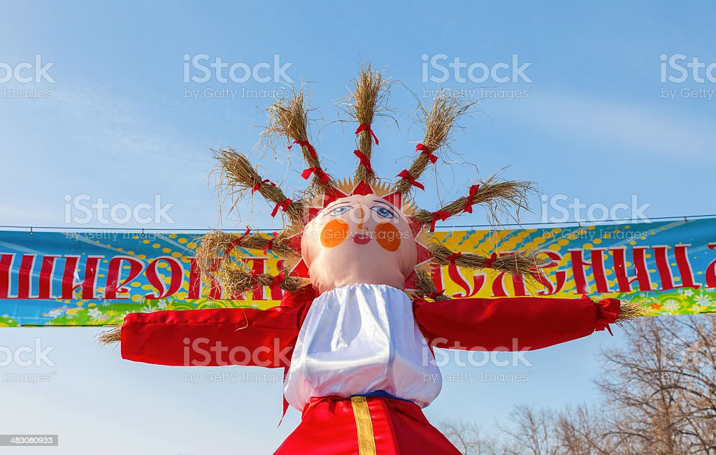 Big doll for the burning on blue sky backg royalty-free stock photo