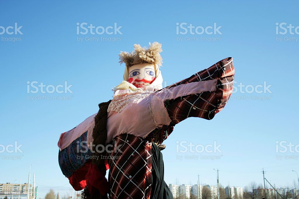 Big doll for the burning stock photo