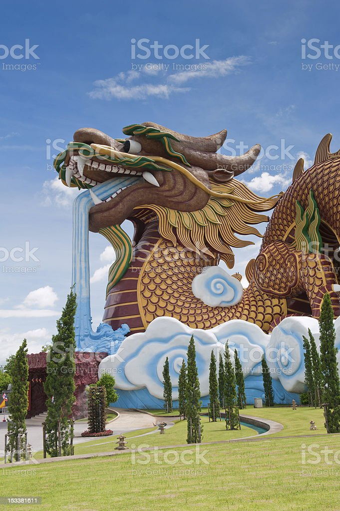 Big Dragon Statue In Thailand stock photo