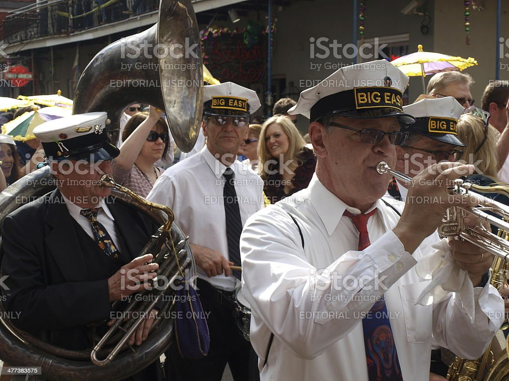 Big Easy Band Members March in Mardi Gras stock photo