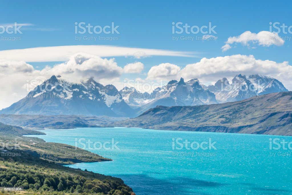 Big emerald lake in Torres del Paine National Park, Patagonia stock photo