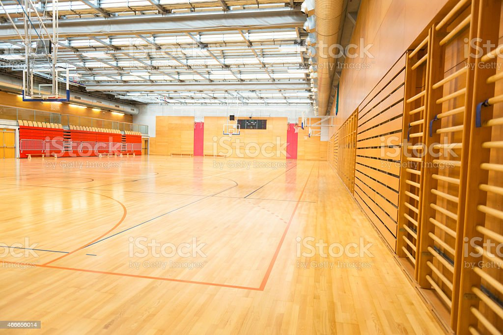 Big Empty Sports Hall, Basketball Court, Metal Roof, Europe stock photo