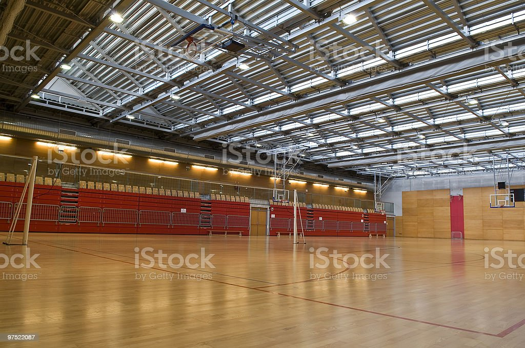 Big Empty Sports Hall Red Metal Roof royalty-free stock photo