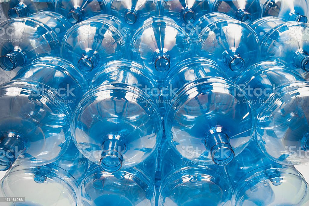 big empty water bottles at warehouse stock photo