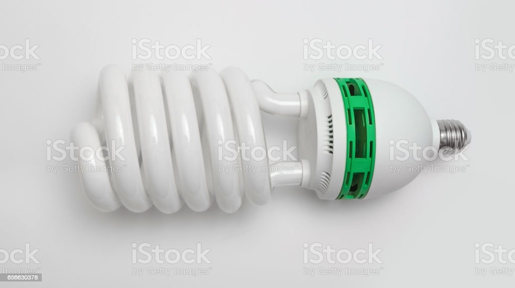 Big energy saving fluorescent light bulb stock photo