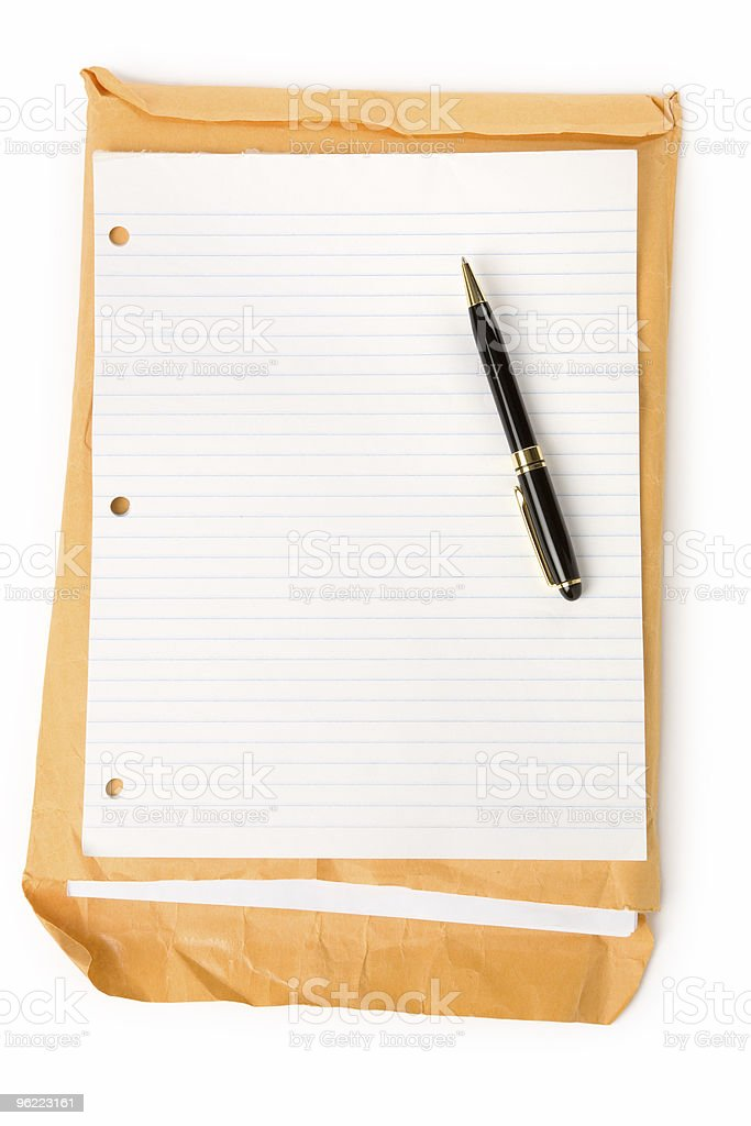 big envelope and notepaper royalty-free stock photo