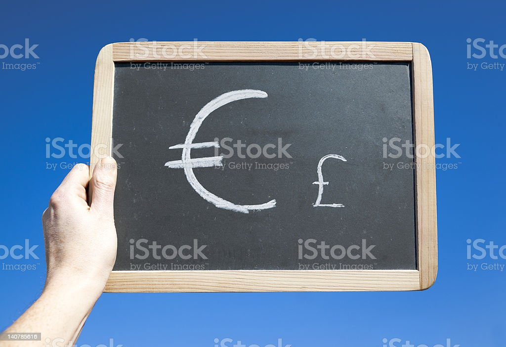 Big Euro and small Stering Symbol . Concept royalty-free stock photo