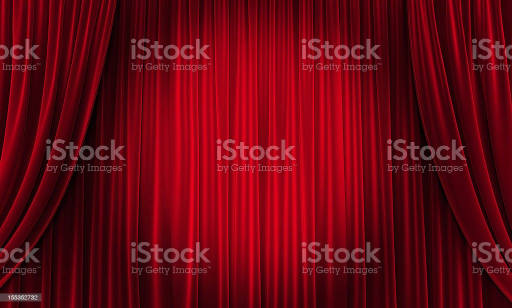 Big event red curtains with spotlight stock photo
