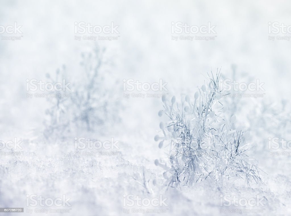 Big Fake Snowflakes on Snow stock photo