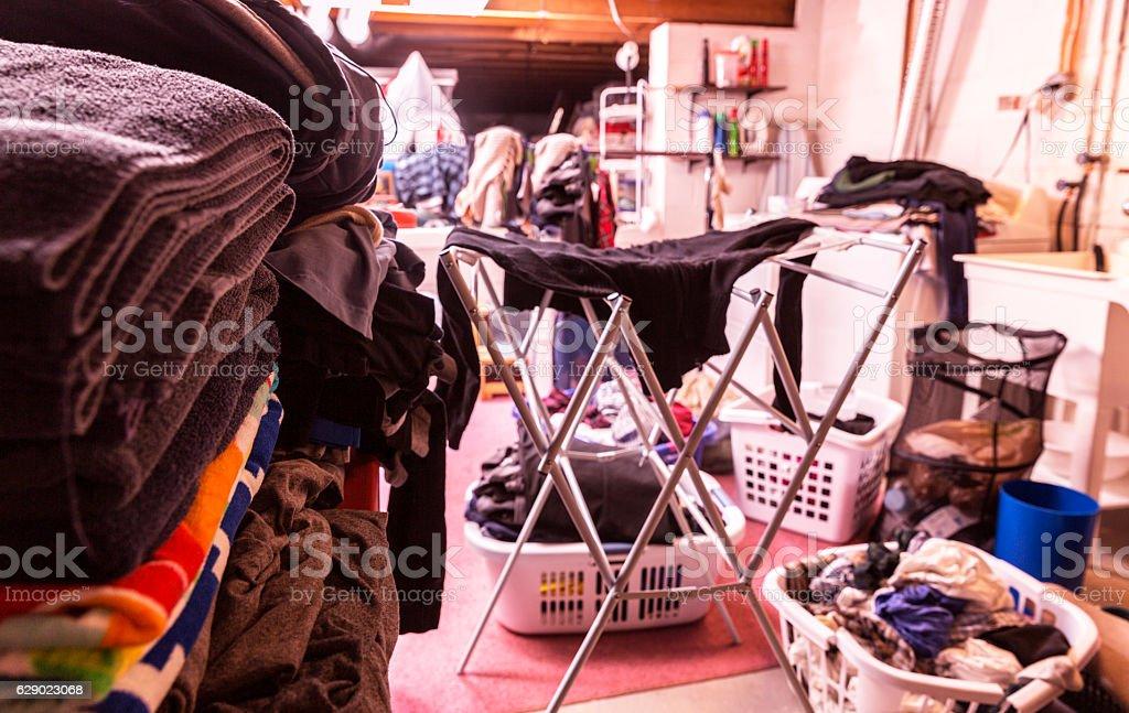 Big Family Basement Utility Room Laundry Day Chaos stock photo