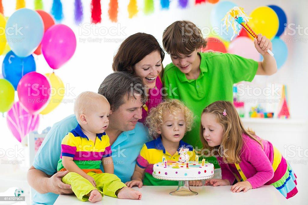Big family celebrating kids birthday stock photo