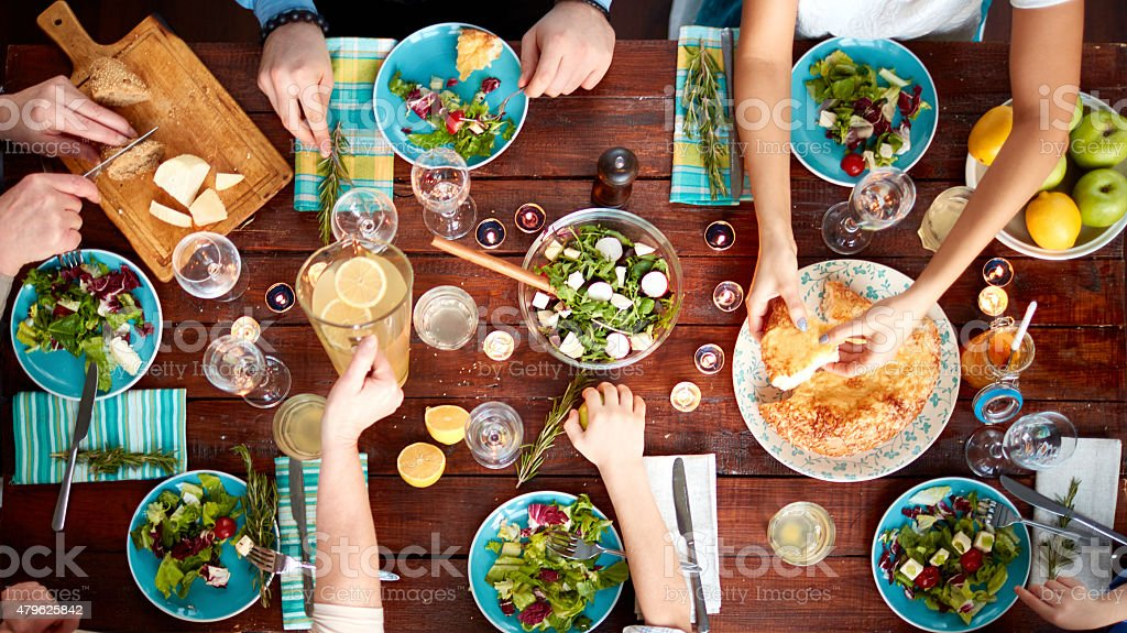 Big family eating stock photo