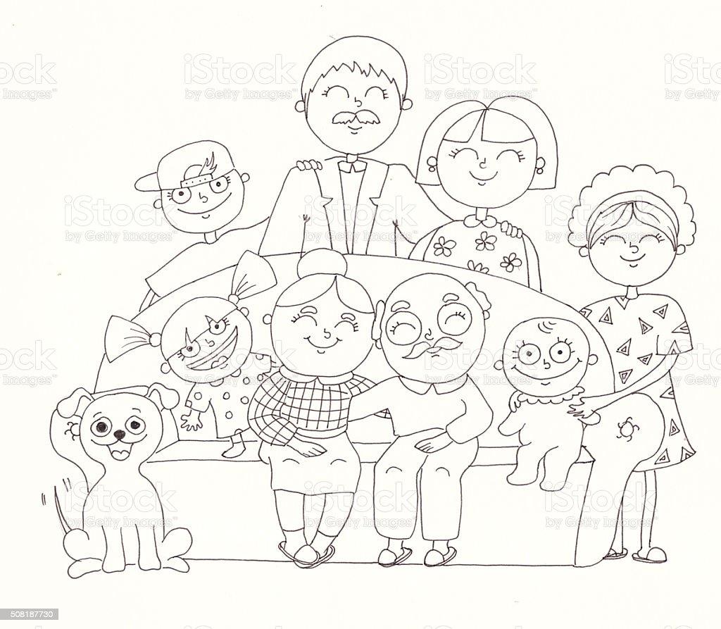 Grande famille. Illustration de linéaire photo libre de droits