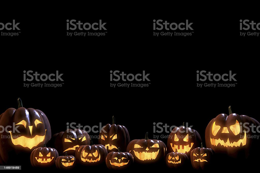 Big family of pumpkins lit by moon light royalty-free stock photo