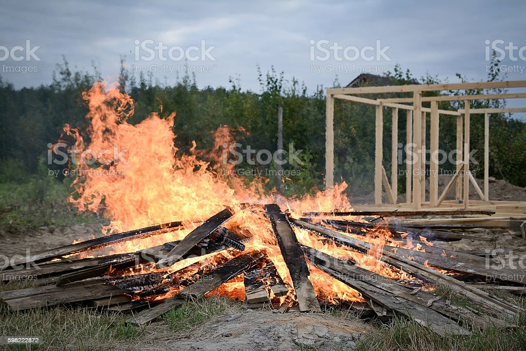 big fireplace on home stock photo
