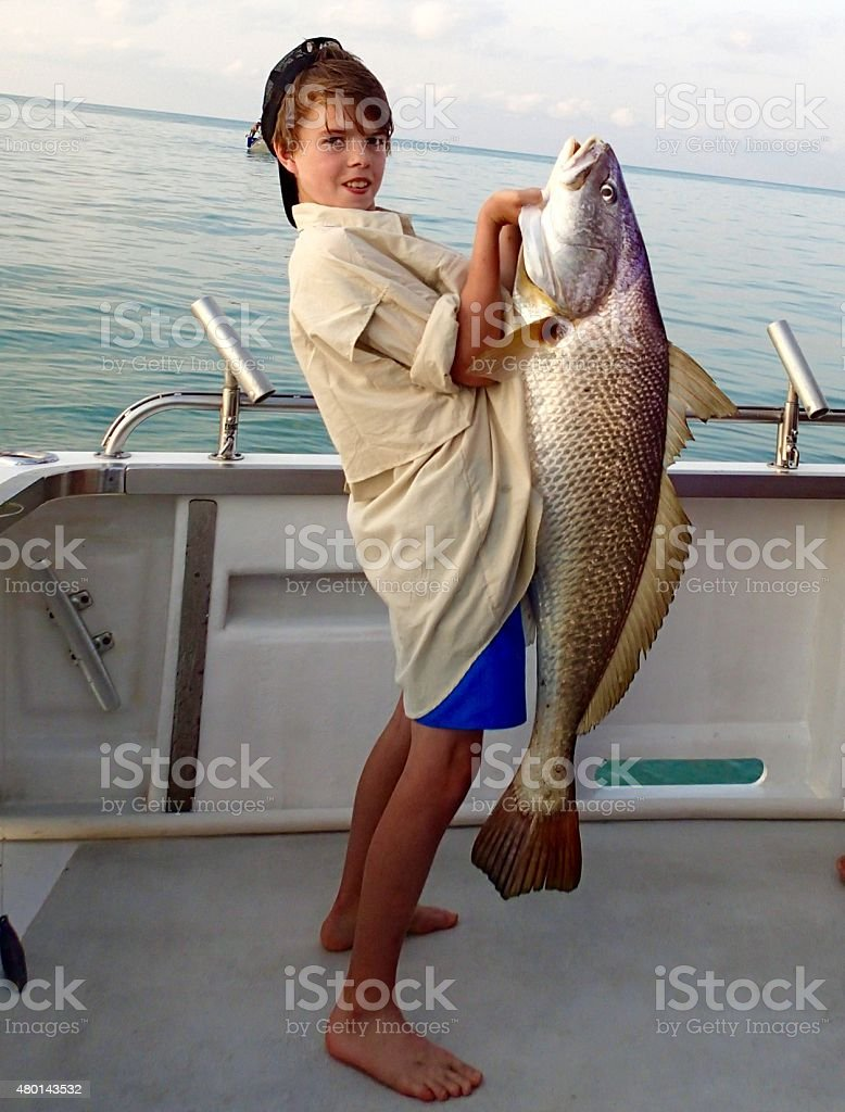 Jew Fish catch stock photo