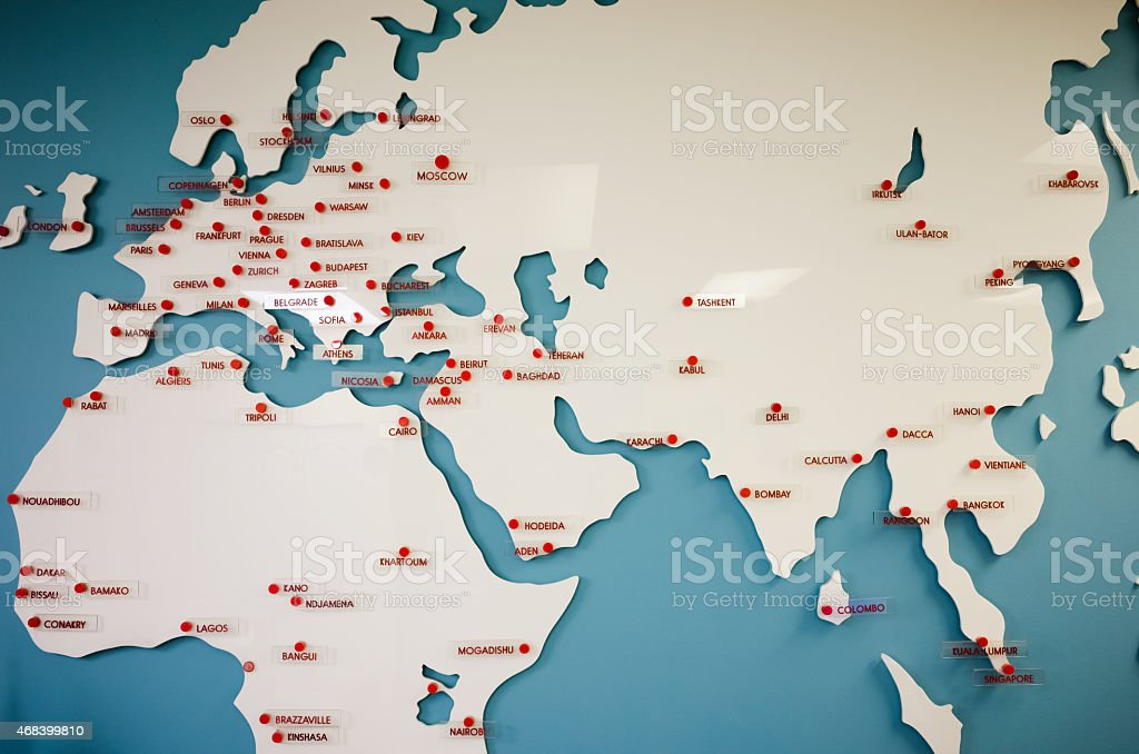 Big fiying white map for Europe,Asia and Africa stock photo