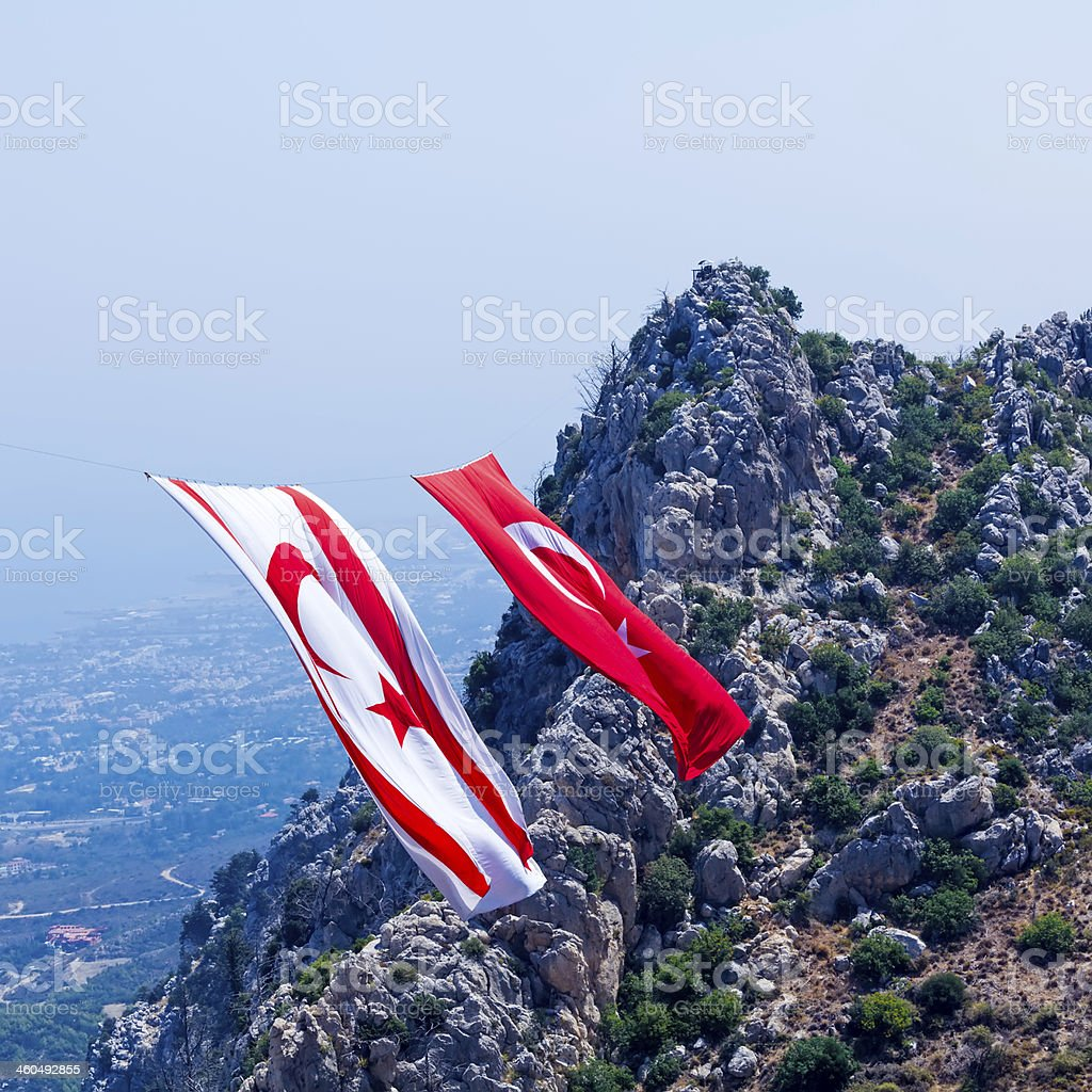 Big Flags of North Cyprus and Turkey stock photo
