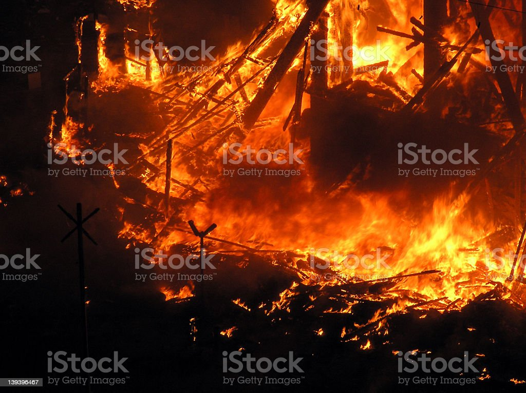 Big flames on the square royalty-free stock photo