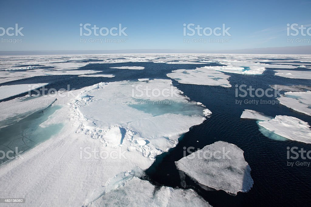 Big flow of drift ice in the arctic stock photo