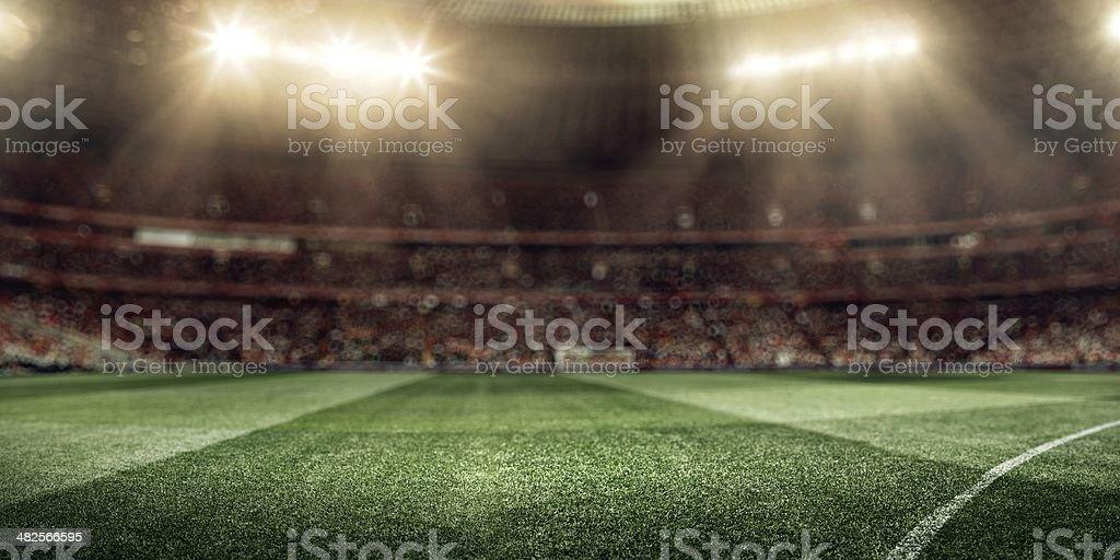 Big football stadium with bright lights stock photo