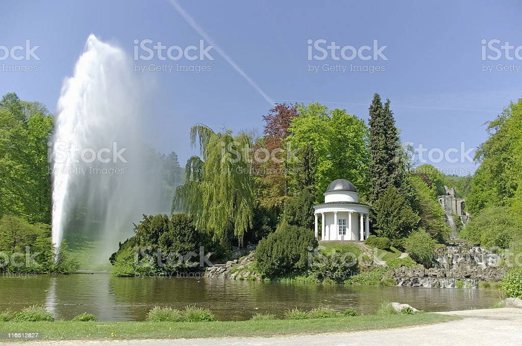 Big fountain at the waterworks in 'Bergpark Wilhelmsh?he', Kassel stock photo