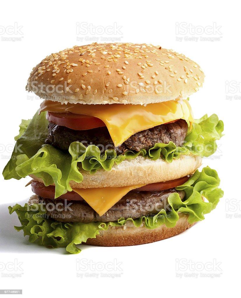 Big fresh delicious homemade double hamburger stock photo