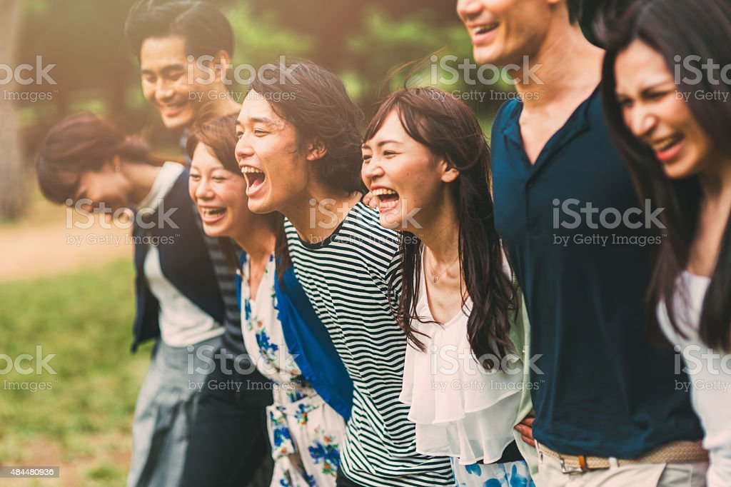 Big friend hug stock photo