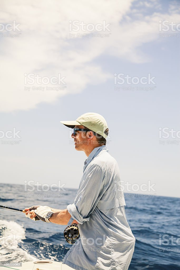 Big game fishing at sea in the sunshine royalty-free stock photo
