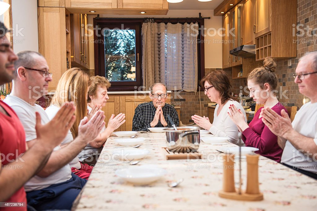 Big generation family dinner stock photo