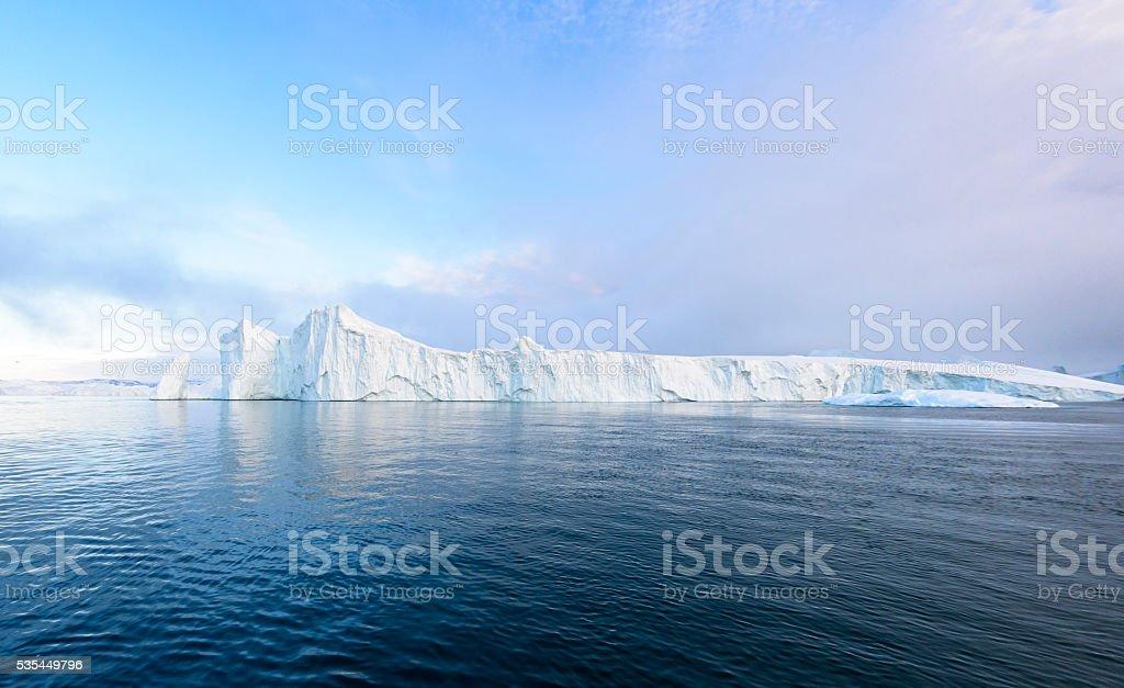 Big glacier on the arctic ocean in Greenland stock photo