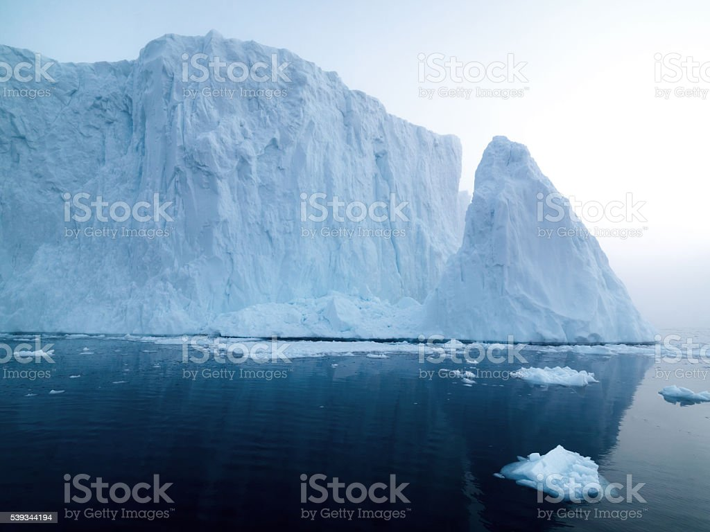Big glacier on the arctic ocean in Greenland stock photo